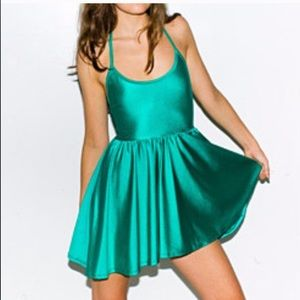 American Apparel Green Shiny Figure Skater Dress-S